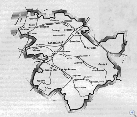 Площадь района — 1,7 тыс. кв. км. Население — 72,2 тыс. человек, в т. ч. сельского — 39,7 тыс. Плотность населения — 42 человека на кв. км. Городскому 2 поселковым и 14 сельским Советам депутатов трудящихся подчинены 95 населенных пунктов. В районе—96 первичных партийных, 93 комсомольские и 125 профсоюзных организаций. За 7 совхозами, 8 колхозами и 3 сельскохозяйственными учреждениями закреплено 59,1 тыс. га сельскохозяйственных угодий, в т. ч. 18,8 тыс. га пахотной земли. В районе 20 промышленных предприятии. Население обслуживают 12 медицинских учреждений. В 42 общеобразовательных школах, в т. ч. 12 средних, 15 восьмилетних, 11 начальных, 2 школах-интернатах, заочной и школе рабочей молодежи, обучаются 12 565 учеников. Есть строительный техникум, профтехучилище. на территории района расположена одна из крупнейших в Европе Крымская астрофизическая обсерватория АН СССР (пгт Научный). Культурно-просветительную работу ведут 18 домов культуры, 74 клуба. 96 библиотек. Имеется 3 кинотеатра, 98 киноустановок. Есть 4 музея, из них 3 работают на общественных началах, 75 памятников истории, археологии и архитектуры. В районе — 6 памятников В. И. Ленину. Сооружено 35 памятников воинам, погибшим в годы гражданской и Великой Отечественной войн.