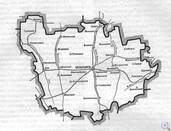 Площадь района — 1893,5 кв. км, население — 56 тыс. человек, в т. ч. сельского — .39,2 тыс. (70,1 проц.). Средняя густота населения — 29,6 человека на 1 кв. км. Городскому поселковому, 14 сельским Советам депутатов трудящихся подчинены 93 населенных пункта. В районе — 78 первичных партийных, 88 комсомольских и 114 профсоюзных организаций. В экономике ведущая роль принадлежит садоводству, виноградарству, выращиванию эфироносов и табака. За тремя совхозами и 14 колхозами закреплено 118,7 тыс. га сельскохозяйственных угодий, в т. ч. 51,5 тыс. га пахотной земли, 5,98 тыс. га поливной. В районе — 18 промышленных предприятий. Население обслуживают 45 медицинских учреждений. В 14 средних, 14 восьмилетних, школах обучается 9905 учащихся, работает 678 учителей. Культурно-просветительную работу ведут 13 домов культуры, 20 клубов, 2 кинотеатра, 32 библиотеки; есть 53 киноустановки, 12 комнат боевой и трудовой славы. Установлено 3 памятника В. И. Ленину, 46 памятников воинам, погибшим в годы гражданской и Великой Отечественной войн.