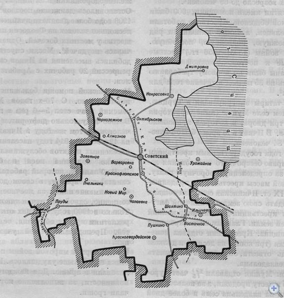 Площадь района — 1079,5 кв. км. Население — 31 тыс. человек, в т. ч. сельского — 22,8 тыс. Плотность населения — 29,6 человек на 1 кв. км. Поселковому и 9 сельским Советам подчинен 41 населенный пункт. В районе — 46 первичных партийных, 66 комсомольских и 78 профсоюзных организаций. В экономике ведущее место принадлежит сельскому хозяйству. За 4 совхозами, 9 колхозами закреплено 74,4 тыс. га сельскохозяйственных угодий, в т. ч. 54,7 тыс. га пахотной земли. Работают 6 промышленных предприятий. Население обслуживают 35 медицинских учреждений, 40 врачей. В 20 общеобразовательных школах, в т. ч. 8 средних, 7 восьмилетних, 5 начальных обучаются 6049 учащихся. Есть техникум мелиорации и механизации сельского хозяйства, сельское профессионально-техническое училище № 4. Культурно-просветительную работу ведут 8 домов культуры, 26 клубов, 22 библиотеки. Имеется кинотеатр, 33 киноустановки. На общественных началах действуют 3 музея. Сооружены памятник В. И. Ленину, памятник и 16 обелисков Славы воинам, погибшим в годы гражданской а Великой Отечественной войн.