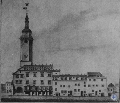 Львовская ратуша. XV—XVIII в. Гравюра неизвестного художника.