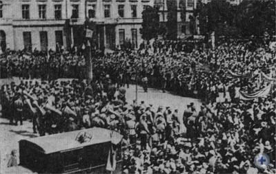 Митинг трудящихся Львова, посвященный освобождению города от фашистских захватчиков. Июль, 1944 г.