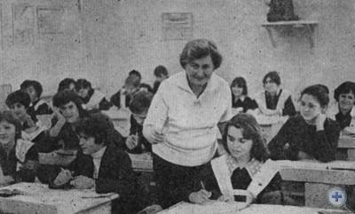 Делегат XXVI съезда Компартии Украины учительница Николаевской средней школы № 38 Л. И. Заворотняя. 1981 г.