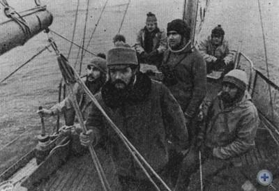 Студенты Николаевского кораблестроительного института им. адмирала С. О. Макарова, совершившие на яхте «Арктика» поход на Канарские острова. 1980 г.
