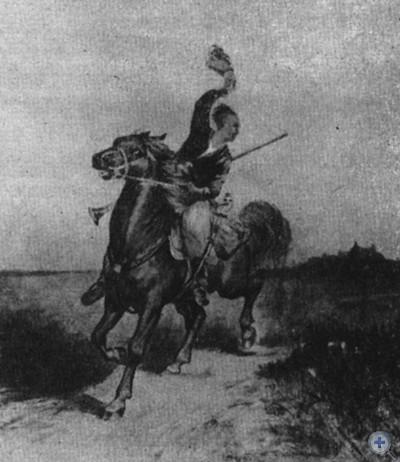 Казак едет на Сечь. Художник Л. М. Жемчужников. 1887 г.