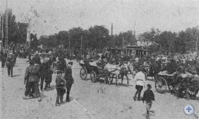 Красный обоз с хлебом на площади Горького в Днепропетровске. 1930 г.