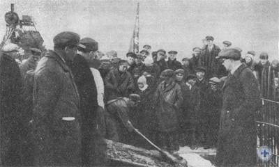 Закладка домны «Комсомолка» в Кривом Роге. 1931 г.