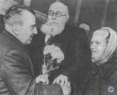Встреча трудящихся Кривого Рога с немецким коммунистом Отто Брозовским-младшим. 1968 г.