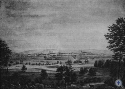 Самбор начала XIX в. Акварель.
